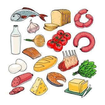 Sammlung verschiedener produkte. handgezeichnete illustration