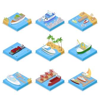 Sammlung verschiedener schiffstypen