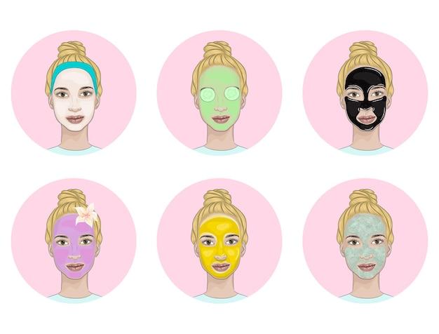 Sammlung verschiedener schönheitsmasken auf einem blonden frauengesicht.
