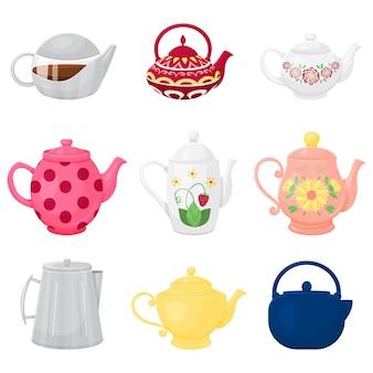 Sammlung verschiedener teekannen