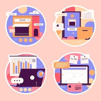 Sammlung verschiedener unternehmensaufkleber