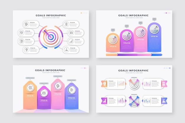 Sammlung verschiedener ziele infografiken