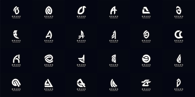 Sammlung voller abstrakter buchstabe a oder aa-monogramm-logo-design