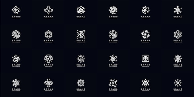 Sammlung voller abstrakter ornament- oder blumenlogoschablonendesign