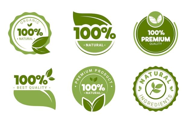 Sammlung von 100% natürlichen grünen etiketten