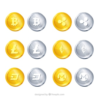 Sammlung von 12 münzen der kryptowährung
