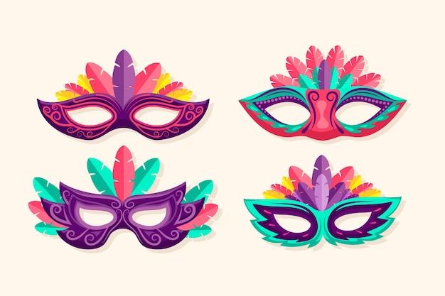Sammlung von 2d gefiederten venezianischen karnevalsmasken