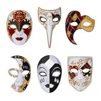 Sammlung von 2d venezianischen karnevalsmasken