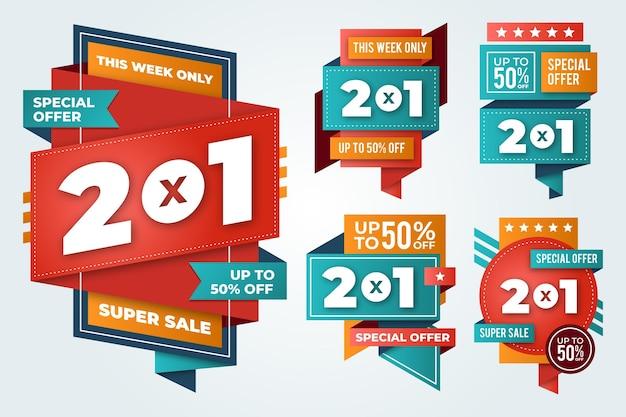 Sammlung von 2x1 promotion-labels