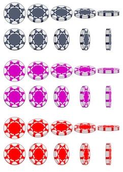 Sammlung von 3d-farbigen casino-chips, rotation des animationsspiels