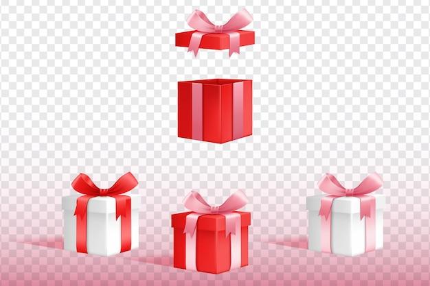 Sammlung von 3d-geschenkboxen