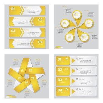 Sammlung von 4 gelbe Farbe Design-Vorlage.