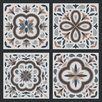 Sammlung von 4 keramikfliesen im vintage-stil
