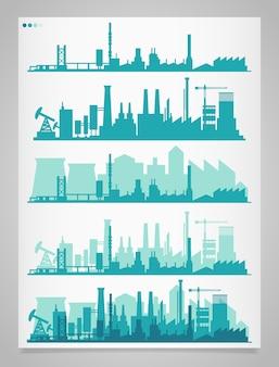 Sammlung von 5 horizontalen bannern mit industriellem stadtteil: fabriken, raffinerien und kraftwerke mit reflexionen