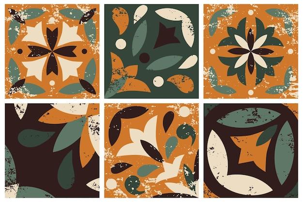 Sammlung von 6 keramikfliesen Premium Vektoren