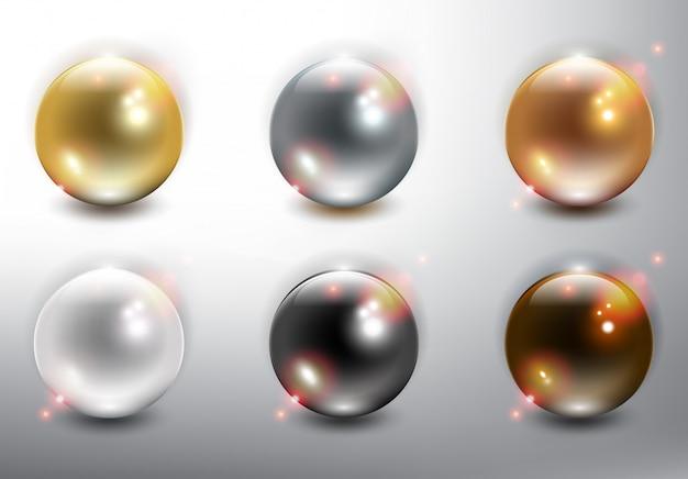 Sammlung von 6 perlen.