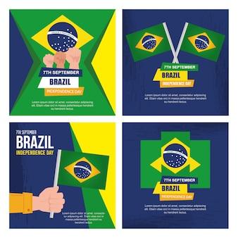 Sammlung von, 7. september, banner der feier brasilien unabhängigkeitstag