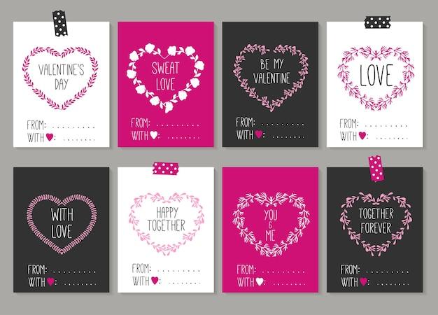 Sammlung von 8 karten des liebesentwurfs. valentinstag eingestellt.