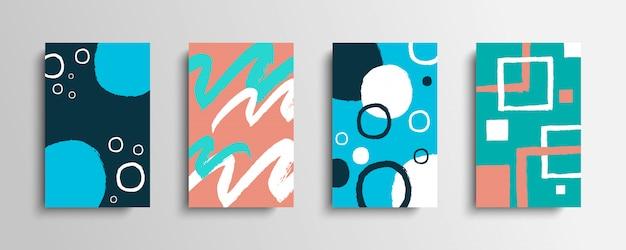Sammlung von abdeckungen mit farbpinselstrichen.