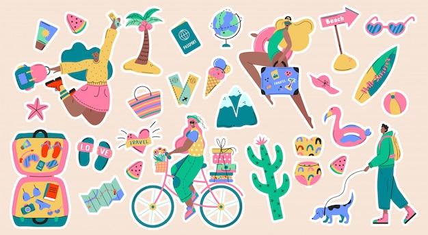 Sammlung von abenteuertourismus, reisen ins ausland, sommerurlaubsreise aufkleber, wandernde und rucksack dekorative gestaltungselemente lokalisiert auf weißem hintergrund. flache karikatur bunte illustration