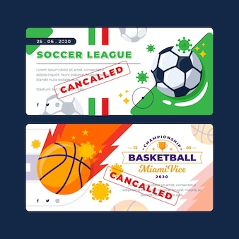 Sammlung von abgesagten sportereignisbanner
