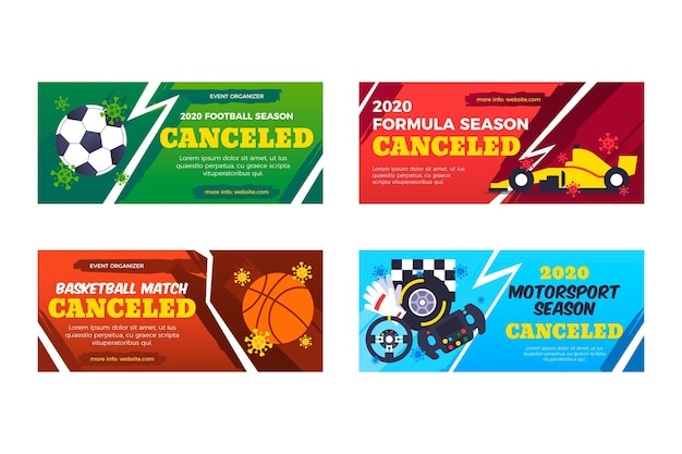 Sammlung von abgesagten sportereignisbannern