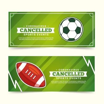 Sammlung von abgesagten sportveranstaltungsbannern