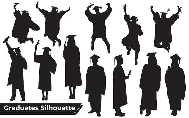 Sammlung von absolventen, die silhouetten in verschiedenen posen feiern