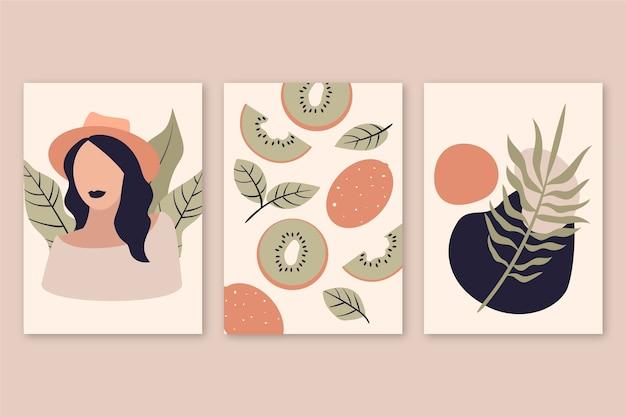 Sammlung von abstrakt gezeichneten deckblättern