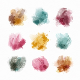 Sammlung von abstrakten aquarellflecken