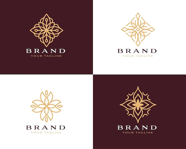 Sammlung von abstrakten blumenstrudel-logo-symbol-vektor-design eleganter premium-ornament-vektor-logotyp