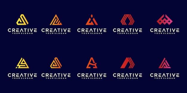 Sammlung von abstrakten buchstaben ein logo-farbverlauf