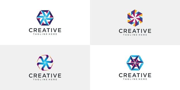 Sammlung von abstrakten logo-vorlagen des bunten kreises