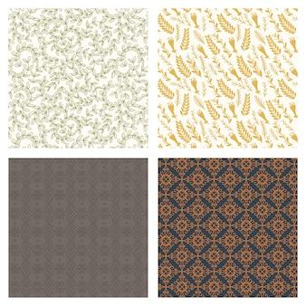 Sammlung von abstrakten modedesign von nahtlosen hintergründen. vektor organische druckmuster. wiederholtes grafikdesign. moderne, stilvolle texturen. stoffvorhang in pastellfarben