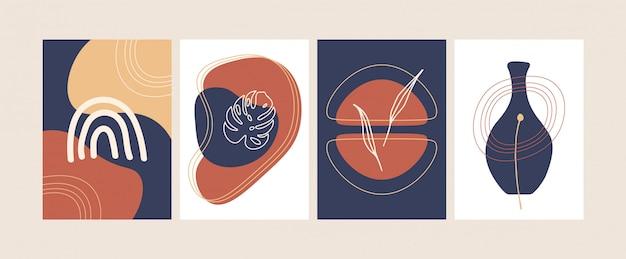 Sammlung von abstrakten modernen botanischen plakaten vektor flache illustration