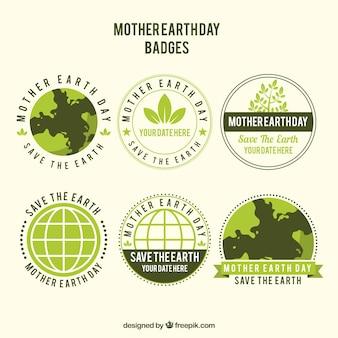 Sammlung von abzeichen für den internationalen tag der erde