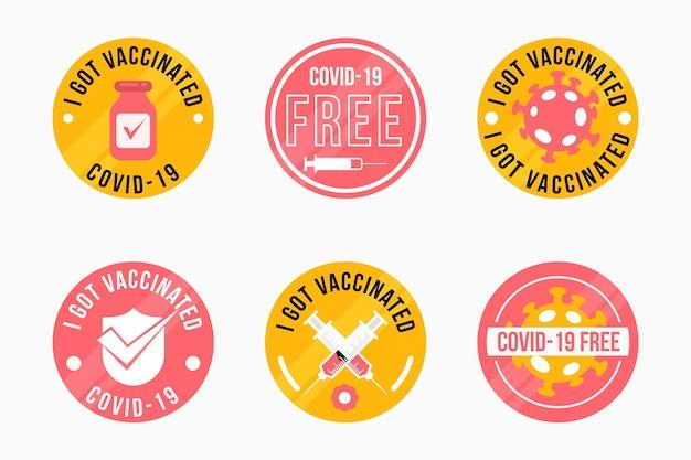Sammlung von abzeichen für flache impfkampagnen