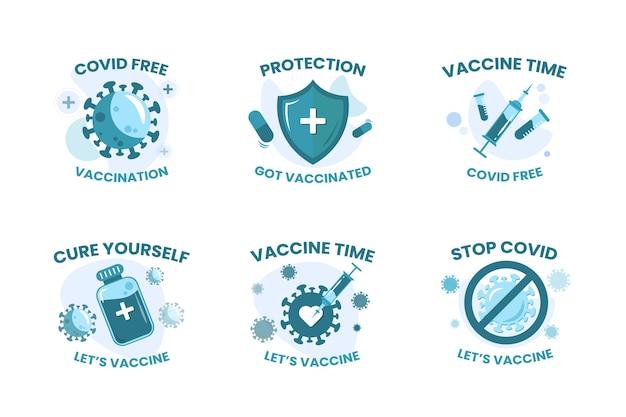 Sammlung von abzeichen-illustrations-impfstoff covid19