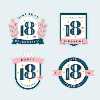 Sammlung von abzeichen zum 18. geburtstag