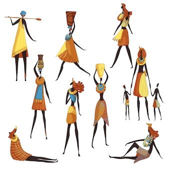 Sammlung von afrikanischen karikaturfrauen auf weißem hintergrund.