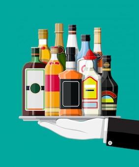 Sammlung von alkoholgetränken in tablett