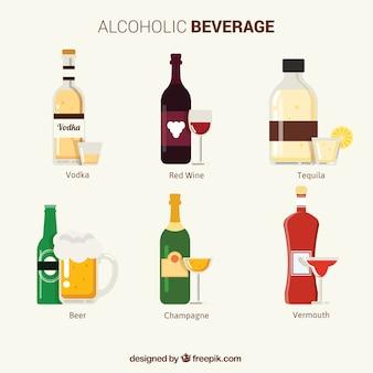Sammlung von alkoholischen getränken