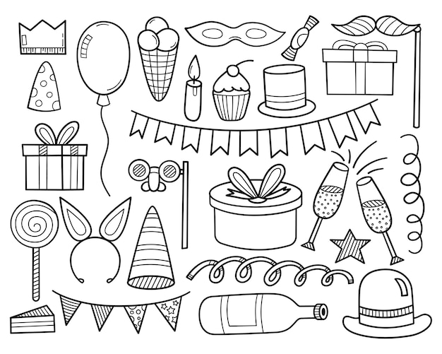 Sammlung von alles gute zum geburtstag kritzeleien skizzen hand gezeichneten stil