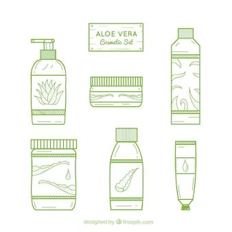Sammlung von aloe vera produkt im linearen stil