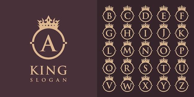 Sammlung von anfangsbuchstaben von a bis z mit einem kronenrahmen-logo-design