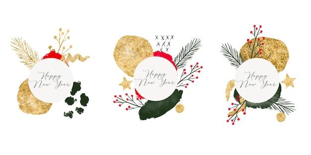 Sammlung von aquarell acryl und gold abstrakte organische form für weihnachtsbanner kartenflieger