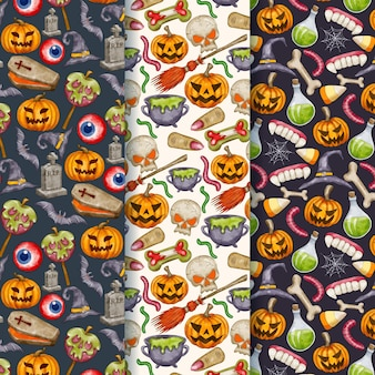 Sammlung von aquarell-halloween-mustern