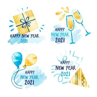 Sammlung von aquarell neujahr 2021 abzeichen