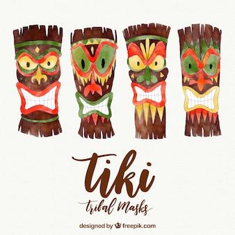 Sammlung von aquarell-tiki-masken