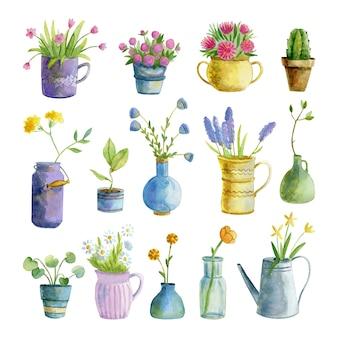 Sammlung von aquarell zimmerpflanzen und blumen in töpfen